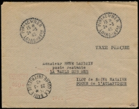 Lot 1076:1945 50c Metered Franking: on plain envelope (upside down and very lightly struck, trivial corner blemishes noted for accuracy) handstamped 'TAXE PERCUE' and broken cds of 'PIRIAC s/MER/15*/24-3/45/LOIRE-INFRE', Post Restante addressee, backstamp La Baule following day. Indecipherable expert (?) handstamp. Very clean.