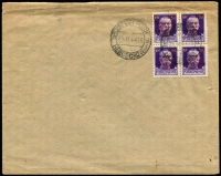 Lot 1318:1944 Overprints: on stamps of Italy 1.50Lit on 50c Mi #3.X block of 4 on unaddressed envelope (small peripheral imperfections), per favour cancelled Herzegovina Nov 25, 1944 bi-lingual cds (another alongside). Reverse of envelope with preprinted 'Velecina 18 (44)' at the top, 'broj 1832' lower right.
