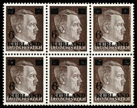 Lot 1325:1945 Hitler 6 on 10(Pf) Dark Brown: with very shiny (glossy) gum Mi #2wz. A fresh MUH horizontal block of 6 [posns 23-5,33-5], includes Narrow '6' [posn 24] and Hole in top left overprint [posn 33] Mi #2.II and 2.VI. Three other units have lesser uncatalogued Broken '6' varieties (none look to be Narrow '6' types).