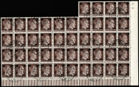 Lot 1513:1945 Hitler 6 on 10(Pf) Dark Brown: Mi #2 in a large per favour cancelled block of 44 with all 15 listed overprint varieties Mi #2.II to 2.VI (cat c€1,300). These, plus the 29 remaining normal Type I opts, gives a total cat well over €2,000. Exhibition quality large multiple.