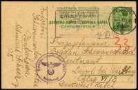 Lot 1530:1941 (Jul 9) use of Jugoslavia 1d Postal Card from Panchevo to a Lieutenant POW at Oflag VI/B pmkd German Feldpost cds July 12 alongside violet Feldpost Office handstamp (No. 08633) and rectangle camp censor arr handstamp. Rare Feldpost system use for POW mail with Dr Hans Zydek 1989 certificate (whose handstamp also appears on the message side of the card).