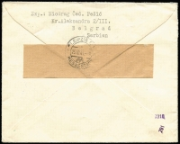 Lot 1328 [2 of 2]:1941 (Oct 18) registered censored envelope Belgrade-Leipzig with optd King Peter 4d and 5d Mi #7-8 (SG #G7-8), arr backstamp.