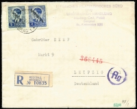 Lot 1328 [1 of 2]:1941 (Oct 18) registered censored envelope Belgrade-Leipzig with optd King Peter 4d and 5d Mi #7-8 (SG #G7-8), arr backstamp.