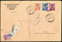 Lot 1178:1942 (Aug 31) c5 size advocate's registered envelope (central fold) locally used in PANĆEVO tied 6.50D optd King Peter values (correct local registration rate) alongside plain reg label tied violet censor and a one-line PANĆEVO handstamp. On the back the following day cds of PETROVGRAD (where censored) and PANĆEVO arrival. Very colourful.