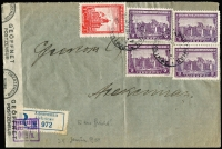 Lot 1179:1942 (Nov) flimsy envelope (central fold) registered within ALEKSINAC franked 9D by 1D scarlet and 2D purple Monasteries x4 cancelled indistinctly dated cds with censor reseal tape and registration label tied small violet censor handstamp. On the back bi-lingual cds of NIŜI (where censored?) and ALEKSINAC arrival. Two expert handstamp, one indistinct monogram, one Ceremuga.