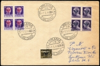 Lot 1323:1944 German Occupation local usage envelope (light central fold) franked 5c brown, blocks of 4 50c violet and 1L dark violet Mi #1, 8 & 10, tied three strikes 'LUBIANA/14/7.3.44/LJUBLJANA' cds (another alongside). Some small overprint idiosyncracies seen.