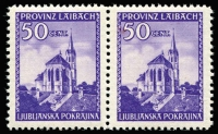 Lot 1322:1945 50c Violet: horizontal pair each with variety Two telegraph wires crossing church steeple Mi #49.I, one unit has natural gum inclusion, very fresh nicely centred. A popular and desirable variety, Cat €280.