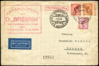 "Lot 1817:1929 Catapult Mail (Aug 2) SS BREMEN with red pictorial cachet, USA AAMC #2. Lightly soiled envelope (flag emblem of the shipping line on flap) to Bremen with blue airmail label, handstamped in red 'Mit Katapultflug' and cachet 'KATAPULTFLUG/vom/D.""BREMEN""/des Norddeutschen Lloyd/nach/BREMEN. 2.8.1929'. Very attractive."
