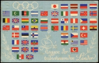 Lot 1868 [2 of 2]:1936 Summer Olympic Games three postcards with Olympics issues cancelled pictorial datestamp 'BERLIN OLYMPIA-STADION' various dates - [1] Flags of the participating countries to London (Aug 5) with 15+10(pf) Mi #614, violet cachet; [2] Gold Medal photo of the ceremony for the first German winner, local (Aug 7) with 6+4(pf) Mi #611, black cachet; [3] Women's Discus official Games card, action photo local (Aug 10) with 4+3(pf) Mi #610 x2 (one damaged), no cachet. (3)