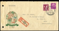 Lot 1296 [1 of 2]:1936 Summer Olympic Games (Jul 27) illustrated official envelope of the Olympic Village registered to a Capt J.L. Muscat in Malta, franked 40pf Hindenburg and 15pf Recreational Congress (Mi #524 & 623) tied special pictorial handstamp of the village, special registration label alongside. Plethora of backstamps including Italian Milan-Florence-Rome TPO. Filing holes at left don't detract from an attractive cover to an uncommon destination (no doubt from an athlete at the games).