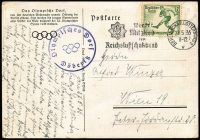 Lot 1054 [1 of 2]:1936 Summer Olympic Games artist's impression in colour of the Olympic Village from the air, to Vienna franked 6+4(pf) Soccer Player Mi #611 tied 'BERLIN-CHARLOTTENBURG 2/27 5 36/11-12/v' slogan cancel with, alongside in violet the Village special cachet. Some foxing around the stamp and hinge traces in corners, otherwise fine. Very scarce.