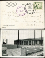 Lot 1056 [3 of 4]:1936 Summer Olympic Games official real photo PPCs with Olympic rings symbol printed upper left and depicting different, three sent during the games with pictorial cancels, two 'BERLIN OLYMPIA-STADION' to Frankfurt and Budapest, one 'BERLIN OLYMPIA REITERPLATZ' (Equestrian) to Frankfurt; two have violet cachets. One to Scotland sent from Hanover in September with a red 'Amtliche Postkarte' d/ring cachet'. (4)