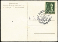 Lot 1299 [2 of 2]:1938 (Sep 7) use of full colour PPC of eagle and swastika on plinth standing on map of greater Germany, the official postcard for the Nüremberg rally, franked Hitler 6+19pf Mi #672 tied pictorial datestamp.
