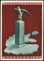 Lot 1299 [1 of 2]:1938 (Sep 7) use of full colour PPC of eagle and swastika on plinth standing on map of greater Germany, the official postcard for the Nüremberg rally, franked Hitler 6+19pf Mi #672 tied pictorial datestamp.