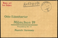 Lot 1300 [1 of 2]:1939 (Sep 1) env preprinted address to Munich with Gothic feldpost and 'FELDPOST/---1.9.39/(eagle/swastika)' s/ring alongside. At upper left, handstamp in red Gothic 'Raus mit/Den Juden'. Highly offensive - then and now.