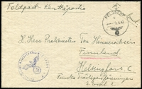 Lot 1830:1942 (Apr 3) Fine onion-skin type envelope inscribed Feldpost addressed to Helsingfors C, Finnland (sic) from a Finnish member of the German Waffen-SS. Black 'FELDPOST' datestamp, blue official censor handstamp similar with Unit No. '11464' (same as written on back of envelope by sender).