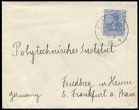 Lot 1158 [1 of 2]:Australische Hauptlinie: 1905 (Aug 28) env to Freidberg (near Frankfurt) with 20pf Germania tied on board 'SEEPOST/a' cds of ship Grosser Kurfürst. Blue crest on flap alongside Freidberg August 30 arr cds. Light cleanable soiling on back does not detract from an attractive cover.