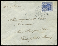Lot 1514 [2 of 4]:Ost-Asiatische Hauptlinie: selection of 'DEUTSCHE SEEPOST' pmks [1] 1896 use of 10pf Postal Card, pmk with check letter 'f' of the SS Prinz Heinrich, from a migrant to China; [2] 1911 env with blue crest on flap by Kobe cds, to Frankfurt, 20pf Germania pmkd with 'd' of the Derfflinger; [3] 1912 battered PPC of Port Said, address/message side with advert flag and logo of NDL, Bremen, to USA with 10pf Germania tied cds 'OST-ASIATISCHE/LINIE/* f/8/10/12' of the ship Yorck. (3)