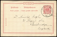 Lot 1514 [1 of 4]:Ost-Asiatische Hauptlinie: selection of 'DEUTSCHE SEEPOST' pmks [1] 1896 use of 10pf Postal Card, pmk with check letter 'f' of the SS Prinz Heinrich, from a migrant to China; [2] 1911 env with blue crest on flap by Kobe cds, to Frankfurt, 20pf Germania pmkd with 'd' of the Derfflinger; [3] 1912 battered PPC of Port Said, address/message side with advert flag and logo of NDL, Bremen, to USA with 10pf Germania tied cds 'OST-ASIATISCHE/LINIE/* f/8/10/12' of the ship Yorck. (3)
