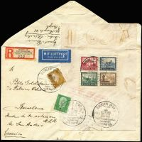 Lot 1788 [1 of 2]:1930 IPOSTA Miniature Sheet plus two low value defins on c5+ size envelope registered to Barcelona tied one of four 'BERLIN W62/IPOSTA' pictorial cancels on exhibition last day (Sep 21, 1930). Flown to Stuttgart (b/s same day), thence presumably overland (Barcelona arr backstamp Sept 24). Rare, this MS on cover cat €2,400+.