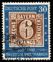 Lot 1885:1949 Stamp Centenary 30pf with Damaged '0' of '30' [posn 50] Mi #115.I. Corner cds, Cat €380+.