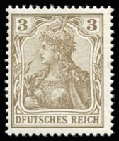 Lot 1115 [2 of 2]:1902 Germania 3pf brown with 'F' for 'E' in 'DEUTSCHES' Mi #69a.I (SG #68b) x2, fresh MUH and fine used. (2)