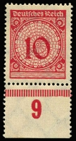 Lot 1117:1923 10pf Lilac-Rose shade variety Mi #340.Pb. A superb MUH bottom marginal copy with burelé and '9' imprint and identifying expert handstamp E.Peschl BPP (when this was Mi #340F).
