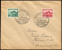 Lot 1792:1938 Opening of Gautheater Mi #673-74 tied to plain FDC by Oct 9, 1938 pictorial Saarbrücken datestamp. Addressed to Berlin.