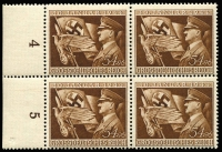 Lot 1477:1944 Third Reich 11th Anniv 54+96pf brown with Broken wing upper right [posn 17] Mi #865.II in fresh MUH left marginal block of 4 incl row number imprints. Very fine.