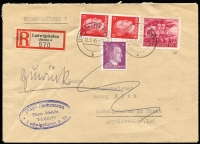 Lot 1134:1945 12+8pf Home Guard Mobilisation variety White shoulder lapel [posn 35] Mi #908.VII on locally used registered envelope (with Hitler 6pf and 12pf pair) tied 'LUDWIGSHAFEN (RHEIN)/12.3.45-17/b' cds alongside registration label and handstamped commercial cachet of the local iron foundry. Backstamp following day, some pencil notations. Rare stamp on cover, even more so with the variety. Expertised E Peschl.