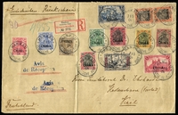 Lot 1889:1904 (May 7) large envelope registered to Kiel and franked 1901-04 opts on Germany 3pf to 3M Mi #15-27 complete, the 30pf in a vertical pair, the upper unit shows the rare variety 'R' of 'REICHSPOST' open at top Mi #20.pf.II (cat €500+ as used, not valued on cover). All units with clear cds 'HANKAU/7|5/04/DEUTSCHE POST'. Steuer photo certificate (1996). Absolutely brilliant.