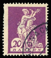 Lot 1449:1920 20 (Pf) Violet Type 2 with Closed foot of '2' in value Mi #181.II. Pulled perfs upper left hardly detract from a scarce highly catalogued variety with neat corner cds Cat €1,800+ (SG #260b £2,500).