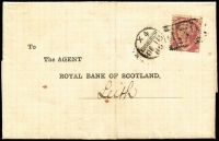 Lot 1518 [1 of 2]:1870 1½d Rose-Red Plate 3 [PC] on printed entire (usual fold) of Royal Bank of Scotland tied by duplex 'X4/EDINBURGH/DE18/80/*131*'. To the Bank's agent at Leith (single-ring arr backstamp same day).