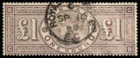 Lot 1586:1884 £1 Brown-Lilac Wmk Three Imperial Crowns [GB] SG #185. Ironed out crease, attempted removal of red crayon marks not totally successful, traces remain. Neat part 'ROYAL [EXCHANG]