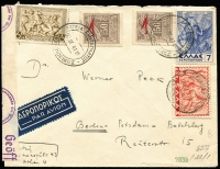 Lot 1301 [1 of 4]:1940-41 German Occupation 1940 (Oct) to 1941 (Dec), four envelopes to Germany with censor reseals. One is a nice commercial envelope of Agence Central de Journaux to Bremen, two are to a Dr Ilse Peek in Potsdam, one from a Dr. W. Wrede, another from a Dr. W. Peek with printed address of 'DEUTSCHES/ARCHAELOGISCHES INSTITUT/ATHEN'. Range of frankings incl optd types. (4)