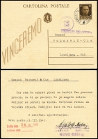 Lot 1501 [1 of 2]:1942 use of Italy 30c brown Victor Emmanuel Postal Cards, one plain and one inscribed 'VINCEREMO'. Both with 'NOVO MESTO/(date)/[LUBIANA]' cds (Jan 23 and March 23), one censored, both same addressee in Ljubljana, both fine and attractive, both scarce usages. (2)