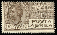 Lot 1495 [2 of 3]:1917-28 Airs with world's first airmail stamp 1917 optd 25c rose SG #102 og with Rome FDI per favour cds very fine, then 1926-27 60c grey, L1.20 pale brown (o/c high), L1.50 orange SG #198,201-2. Fine to very fine, min cat £190 (2010). (4)