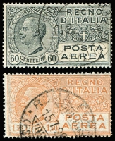 Lot 1495 [3 of 3]:1917-28 Airs with world's first airmail stamp 1917 optd 25c rose SG #102 og with Rome FDI per favour cds very fine, then 1926-27 60c grey, L1.20 pale brown (o/c high), L1.50 orange SG #198,201-2. Fine to very fine, min cat £190 (2010). (4)