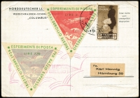 Lot 1499:1934 Trieste Experimental Rocket Post (Oct 31) PPC of ship Columbus with 5L and 7.70L imperf triangular labels plus 10c brown SG #424 tied by Trieste, Capo Distria (?) cds and/or special magenta cachet. Addressed to the legendary Karl Hennig in Hamburg.