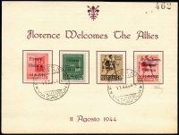Lot 1675:Florence set of four common stamps 20c to 75c (as Italian Social Republic SG #102-5) overprinted in black 'Firenze/liberata/11-8-1944', the 75c also 'Posta Aerea' and the image of a plane in dark blue. All mounted on, and tied to, inscribed part album page by 'FIRENZE No. 18/11AGO44/*VIA CAVOUR*' d/ring cds, with handstamp '__462' and an indistinct signature. Never seen this before. (4)