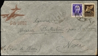 Lot 1497:1943 (Sep 2) flimsy airmail envelope (trimmed, two pinholes) from Military PO in Greece, addressed to Bari franked 1943 (Jun) 'P.M.' optd 50c violet (Postage) and 50c sepia (Air) SG #M589 & M596. Scarce cover.