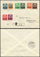 Lot 1519:1940-41 Complete Sets comprising [1] Hindenburg overprinted set of 16 Mi #1-16, on two Feb 13,1941 small registered envelopes (8 values on each) with pre-printed address to Reutlingen (Germany), pinholes lower right; [2] Luxembourg overprinted set of 16 Mi #17-32 on Dec 23, 1940, unaddressed envelope; [3] Winter Relief of Germany overprinted set of 9 on unaddressed FDC Jan 12, 1941, Stamp Day special cancel. Clean covers. (4)