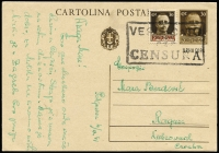 Lot 2127:1941-43 Italian Occupation overprinted Postal Card 30c brown Victor Emmanuel III with occupation imprint beneath design Mi #P30 and uprated by same design 30c brown optd in red Mi #28, addressed to Ragusa (Croatia) and postmarked censor's large boxed handstamp 'VERIFICATO/PER/CENSURA'. Premium condition, very scarce usage.