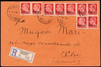 Lot 2126 [1 of 2]:1941-43 Italian Occupation 1942 (Oct 16) flimsy envelope registered to Italian Concentration Camp at Klos in Albania franked 1.80L by 20c carmine Mi #26 x9 overpaying by 5c the 1.75L rate (50c postage + 1.25 registration). PODGORICA bi-lingual cds and registration label alongside; transit, arrival and camp censor backstamps. Rare survivor.