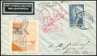 Lot 1361 [1 of 2]:1935 NRB 'P12' & 'P14' Rockets covers with vignettes tied special cachets [1] (Jan 24) 'Poolster' (P12) proving flight, signed; [2] (Mar 21) 'Mercurius' (P14) first night flight with special additional pictorial cachet and on the back handstamp 'CERTIFIED GENUINE/(star)/(R.K. DALWOOD)'. Fine scarce duo.