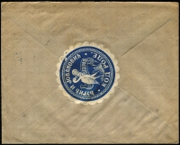 Lot 1442 [2 of 4]:1905 & 1912 Registered Mail to foreign destinations [1] 1905 (Sep) folded env of the Serbian Credit Bank to Switzerland with bi-lingual Belgrade cds tying two 25p King Peter SG #121, backstamp Bellinzona arrival alongside deep carmine bank seal perfin 'BELGRADE'; [2] 1912 (Mar 30) advert envelope to Germany with 50p King Peter SG #134b tied Belgrade cds, no backstamp, ornate blue and white seal.