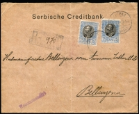 Lot 1442 [3 of 4]:1905 & 1912 Registered Mail to foreign destinations [1] 1905 (Sep) folded env of the Serbian Credit Bank to Switzerland with bi-lingual Belgrade cds tying two 25p King Peter SG #121, backstamp Bellinzona arrival alongside deep carmine bank seal perfin 'BELGRADE'; [2] 1912 (Mar 30) advert envelope to Germany with 50p King Peter SG #134b tied Belgrade cds, no backstamp, ornate blue and white seal.
