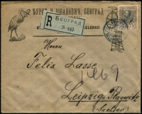Lot 1442 [1 of 4]:1905 & 1912 Registered Mail to foreign destinations [1] 1905 (Sep) folded env of the Serbian Credit Bank to Switzerland with bi-lingual Belgrade cds tying two 25p King Peter SG #121, backstamp Bellinzona arrival alongside deep carmine bank seal perfin 'BELGRADE'; [2] 1912 (Mar 30) advert envelope to Germany with 50p King Peter SG #134b tied Belgrade cds, no backstamp, ornate blue and white seal.
