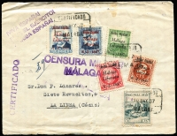 Lot 1858:1937 Civil War (May 10) censored env registered to Cadiz, propaganda handstamp, 5c grey-blue 'PRO MALAGA' and five different Malaga opts on Spain SG #5, 9, 15, 17, 18 - all tied three strikes boxed 'CERTIFICADO/10MAY37/MALAGA' datestamp, arr backstamp same date. Vertical fold, peripheral imperfections, cleanable stains. Very scarce.