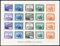 Lot 1424:1938 Army & Navy Miniature Sheet imperforate SG #925 (Mi #Block 10B). Control No on back, small gum adhesion, very fresh Cat £250+ as MLH. Strong thematic, good value.